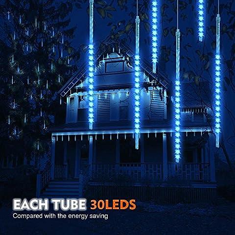 Samoleus Éclairage de Pluie de Météore 30cm 10 Tube 300 LEDs Meteor Douche Feux Lumières avec Plug EU pour la Décoration de Arbre de Noël Jardin (Bleu-30cm)