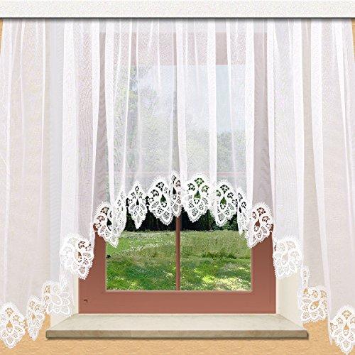 Hübscher Blumenfenster-Store Jette weiß mit 12 cm breitem Spitzenabschluss aus Echter Plauener Spitze mit Reihband Fertiggardine (Spitzenabschluss Breite)