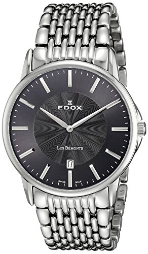 Edox men's Quartz Watch Analogue Display and Stainless Steel Strap 56001 3M GIN