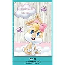 Tarjeta Felicitación nacimiento niña rosa Lola Bunny Baby Looney Tunes