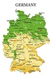Postereck - Poster 1189 - Deutschland Karte, Hauptstaedte Englisch Bundeslaender Größe DIN - A4-21.0 cm x 29.7 cm