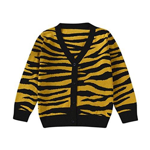 TPulling Mode Herbst Und Winter Mädchen Kinder Tiger Leopard mit langen Ärmeln Top Shirt Pullover Mantel Strickjacke Kleid Prinzessin Jacke Dicke Outfits Blusen Pullover (Gelb, 100) (Tiger Kinder Jacken)
