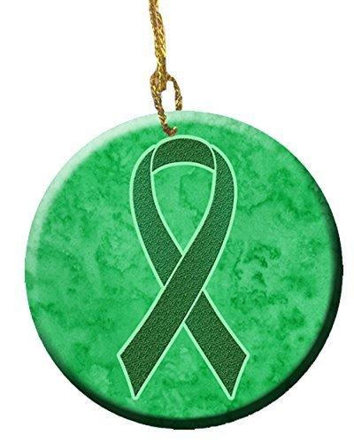 or Kidney Cancer Awareness Ceramic Ornament AN1220CO1 by Caroline's Treasures (Green Awareness Ribbon)