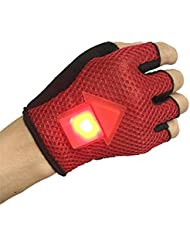 LED Gloves with Swivel Signal Warning and Safety for Cycling, motoclicletas, Vigilant, Works, Night Work, Mountain Red Open Buy Novelty