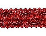 5,0 m PosamentenborteBreite 16 mm Farbe Rot (1,1 €/m) 5m,10m,15m uzw Brokatborten Dekoborte Möbelborte Fransen Brokat Spitze Barock