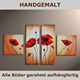 HANDGEMALT: 4 LEINWANDBILDER BILDER [MOHN 2] 100 x 60cm. Bilder auf Holzrahmen gespannt und und kann SOFORT aufgehangen werden!