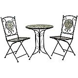 Bentley Garden - Salon de jardin 3 pièces style bistro - table et 2 chaises - mosaïque - fer forgé...