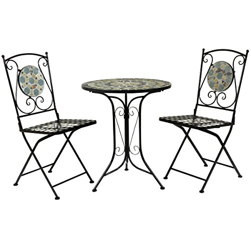 Charles Bentley Garden 3 Piece Wrought Iron Mosaic Bistro Set Table and 2 Chairs