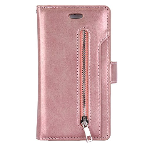 Jinghuash Kompatibel mit iPhone 6/6S Plus Hülle PU Leder Flip Case Brieftasche Ledertasche Tasche Klapphülle Multifunktionaler mit Reißverschluss [9 Karten Slot] Lederhülle HandyHülle-Roségold Flip Plus Audio