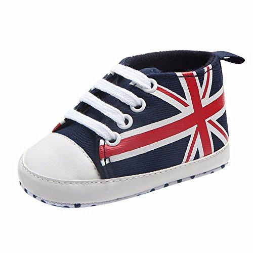 Unisex Neugeborenes Baby Junge Union Jack Flag Print Canvas Rutschfeste weiche Schuhe Sneaker Krabbel- & Hausschuhe Schuhe Weiß Größe 3-12 Monate(Dunkelblau,13 EU)
