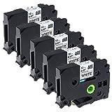 Kompatibel Brother P-touch Schriftband TZe-231 Schwarz auf Weiß tz 231 12mm x 8mm (0.47 Inch x 26.2 feet) Laminiertes Etikettenbänder für Brother P-touch PT-1010 PT-1080 PT-h75 PT-h101c, 5 Packung