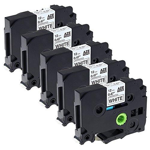 Airmall 5 Stück Industrie-Etikettierband Kompatibel für Brother Tze 231 TZ231 12mm Breit 8m Länge Schwarz auf Weiß Label Tape cassette laminierfolien (Länge Peeling)
