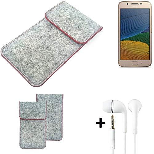 K-S-Trade® Filz Schutz Hülle Für -Lenovo Moto G5 Single-SIM- Schutzhülle Filztasche Pouch Tasche Handyhülle Filzhülle Hellgrau Roter Rand + Kopfhörer