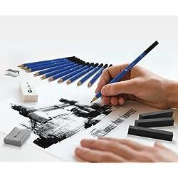 Set de 26 lápices para dibujo o bosquejo: kit de lujo para principiantes, niños o cualquier aspirante a artista; incluye lápices de grafito, lápices de carbón, lápices de grafito sin madera, barras de grafito, barras de carbón, sacapuntas y dos gomas de borrar., negro, 26 piece set