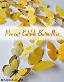 24 X PRE-CUT BEAUTIFUL MEDIUM YELLOW BUTTERFLIES EDIBLE RICE / WAFER PAPER PRE CUT CUPCAKE CAKE DESSERT TOPPERS BIRTHDAY PARTY WEDDING BABY SHOWER DECORATIONS (Medium)