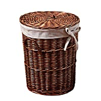 Zhijie Round Rattan Hamper With Liner,Willow Hamper With Matching Lid, Height 52cm, Caliber 42cm