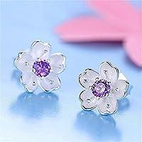 Earrings for Women for Birthday 1 Pair New Women Earring Elegant Sterling Silver Ear Stud Earrings 3 ColorNovelty Jewellery for Easter by Janly