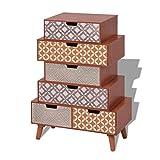 Festnight Retro-Design Seitenschrank Sideboard mit 6 Schubladen 60x30x86cm als Telefonschrank für Schlafzimmer oder Wohnzimmer - Braun