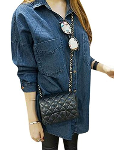 Woman Point Collar Single Breasted Front Loose Fit Denim Tunic Shirt