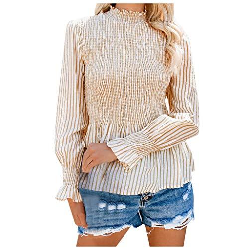 SoonerQuicker Outwear Winter Kurz Mantel Pullover Frauen Gestreifte Taille Rüschen Stehkragen Wild Langarm Top Bluse Gelb S - Wolle Rüschen Cardigan