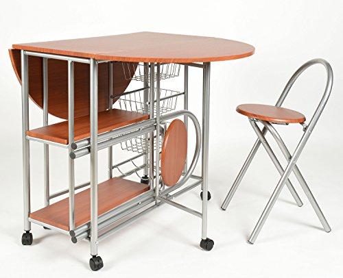 ts-ideen 2821 Set 3 pezzi Tavolo con 2 sgabelli in Alluminio e MDF ...