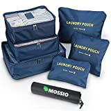 Luggage Organiser,Mossio 7 Set Packing Cubes with Shoe Bag - Compression Travel Luggage Organizer Laundry Bag (Dark Blue)