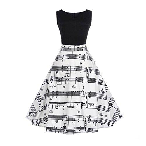Elecenty Damen Swing Abendkleider,Jahrgang Sommerkleid Bodycon Maxikleid Ärmellos Partykleid Mädchen Wadenlänge Blumen Kleider Frauen Abschlussball Kleid Langes Kleidung (XL, Weiß 6)