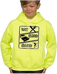 Boy's eléctrico cartucho para máquinas de corte sudadera con capucha de color amarillo flúor APSA 'Eat para patines de apagado'