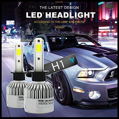 Motify-GT H1 6500K 12000Lm 12V 24V kit de conversion Phare LED, feux de route ou de croisement, feux de brouillard, HID ou phares halogènes de remplacement(Blanc)