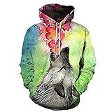 GEFANENR 3D Sweatshirts Print Männer/Frauen Blume Wolf Tier Mit Kapuze Hoodies Unisex Tops,Picture,4XL