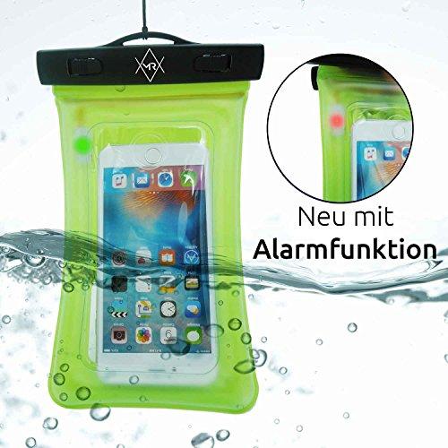 MR Goods – WELTNEUHEIT Wasserdichte Handyhülle mit eingebautem ALARM macht Ihr Handy zur Unterwasserkamera – Schützen Sie Wertsachen durch die wasserfeste Unterwasserhülle – Handytasche wasserdicht für Urlaub & Strand