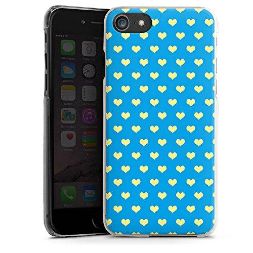 Apple iPhone X Silikon Hülle Case Schutzhülle Herzchen Blau Polka Hard Case transparent