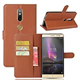 Tasche für Lenovo Phab 2 Plus Hülle, Ycloud PU Ledertasche Flip Cover Wallet Case Handyhülle mit Stand Function Credit Card Slots Bookstyle Purse Design braun