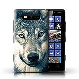 eSwish Coque de Coque pour Nokia Lumia 820 / Portrait Gris Rétro Design/Loup...