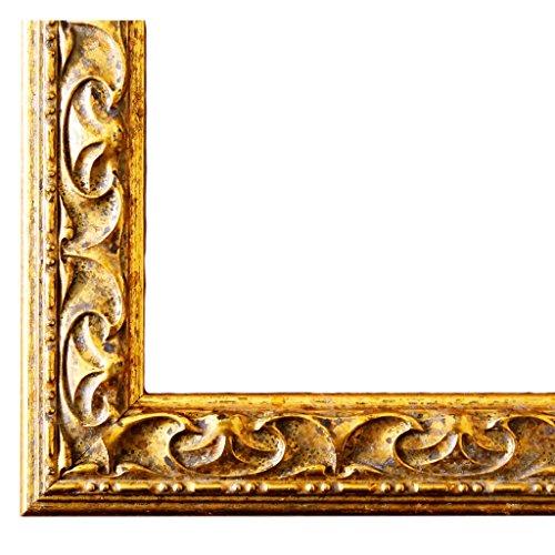 Gold 3,1 - WRF - DIN A4 (21,0 x 29,7 cm) - wählen Sie aus über 500 Varianten - alle Größen - Modern, Shabby, Landhaus, Antik, Barock - Fotorahmen Urkundenrahmen Posterrahmen ()