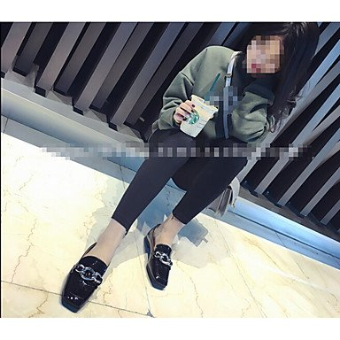 Confortevole ed elegante piatto scarpe donna tacchi altri Esterno in similpelle nero grigio verde Borgogna Red
