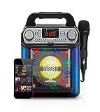 Singing Machine SML650B Bluetooth Karaoke Machine with voice changer and LED lights, Black