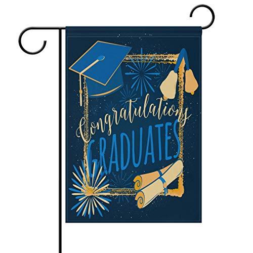 ASKYE Congrats You Did It Graduation Garden Yard Flag Double Sided, Congratulations Graduation Cap Diploma Decorative Garden Flag Banner for Outdoor Home Decor Party(Size: 12.5inch W X...