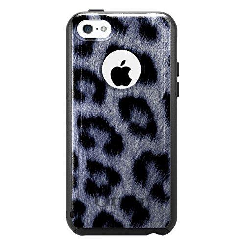 DistinctInk Fall für iPhone 5C Otterbox Commuter Gewohnheits-Fall Blau Schwarz-Leopard-Pelz-Haut-Druck auf Schwarz-Fall (5c Fällen Otter Box Blau)