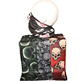 Multi Pack of 4 Mens Biker Face Neck Tube Scarf Skulls Pattern Assorted Colours