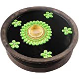 Bombay Haat Handcrafted Tealight Candle Holder / Floating Diya / Diwali Diya With 5 Preety Flowers For Home Décor And Diwali Gifting ( Green )