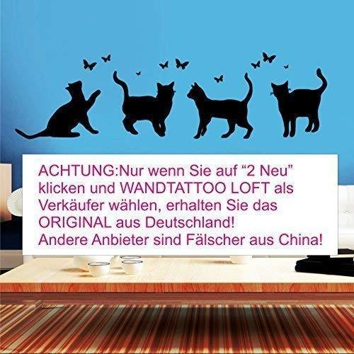 Wandtattoo-Loft Vier Katzen mit Schmetterlingen- Wandtattoo / 49 Farben / 3 Größen -