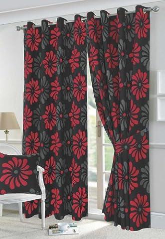 Petals Black & Red Floral Design Fully Lined Eyelet Curtains & Tie-Backs 90x90