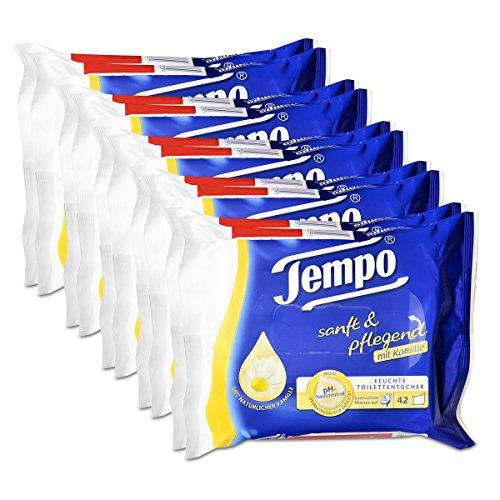 5x Tempo Feuchte Toilettentücher sanft & pflegend Duo-Nachfüllpackung, mit Kamille 2x42er -