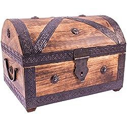 Baúl pirata de madera de mango, vetado, grande.