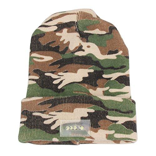 JUNERAIN 5LED helle Licht-Tarnungs-Mütze strickte Winter-Hut für das Gehen der Jagd