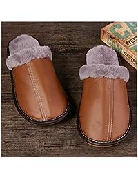 OMFGOD Slippers Los Hombres Invierno Térmico Antideslizante Resistente Al Desgaste Transpirable Terciopelo Auténtico Artificial Zapatillas Inicio Casual Interior Par De Zapatos,Brown,39-40