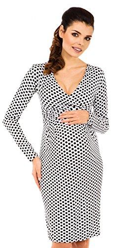 Zeta Ville - Maternité robe de grossesse à pois - manches longues - femme - 144c Blanc à pois