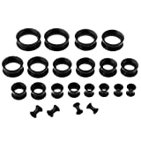PiercingJ Silikon Tunnel Set 11 Paare 3-20mm Tunnel Double Flared Hohl Plug Ohrpiercing Klassisch Unisex Punk (schwarz)