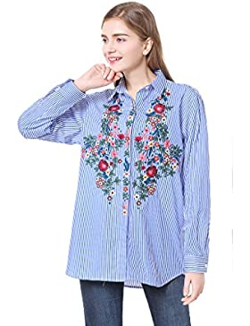Cicel Girl Tops Mujer Blue Stripe Flower Bordado Camisa manga larga blusa